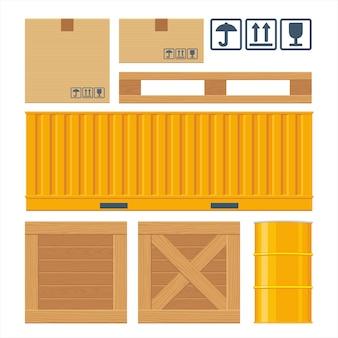 Brązowe pudełko kartonowe, paleta, pojemnik, drewniane skrzynie, metalowa beczka