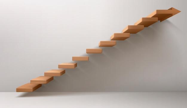 Brązowe schody i znak strzałki zamiast górnego stopnia