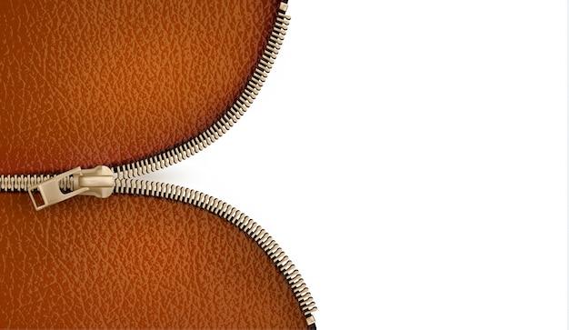 Brązowe skórzane tekstury tła z zamkiem błyskawicznym