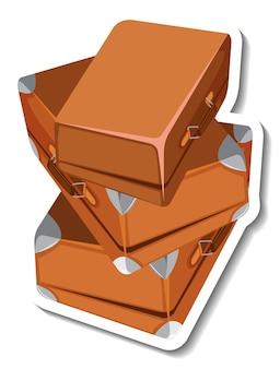 Brązowe skórzane walizki na białym tle
