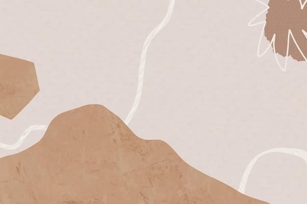 Brązowe tło z abstrakcyjną ilustracją góry memphis w tonacji ziemi