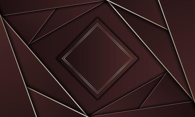 Brązowe trójkąty ze złotymi liniami i prostokątem. zupełnie nowy projekt banera.