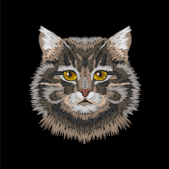 Brązowo-szare paski kota oczy głowy.