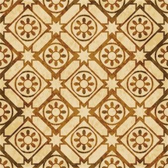 Brązowy akwarela tekstury, wzór, okrągły kwiat gwiazda czek