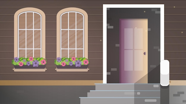 Brązowy drewniany dom z dużymi oknami. okna z kwiatami. ganek wiejskiego domu.