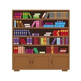 Brązowy drewniany regał z kolorowymi książkami. ilustracja wektorowa dla koncepcji biblioteki, edukacji lub księgarni.