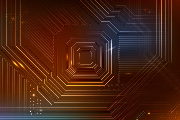 Brązowy futurystyczny mikrochip w tle cyfrowej transformacji danych