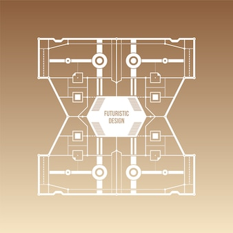 Brązowy gradient tło z futurystycznym wzorem