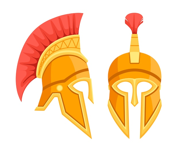 Brązowy hełm grecki. spartańska starożytna zbroja. kask z czerwonymi włosami. ilustracja na białym tle