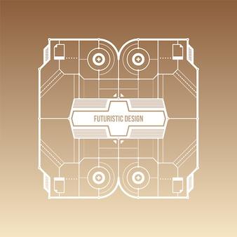 Brązowy i beżowym tle gradientu z futurystycznym wzorem