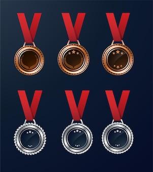 Brązowy i srebrny pusty medal wektor zestaw ze wstążką