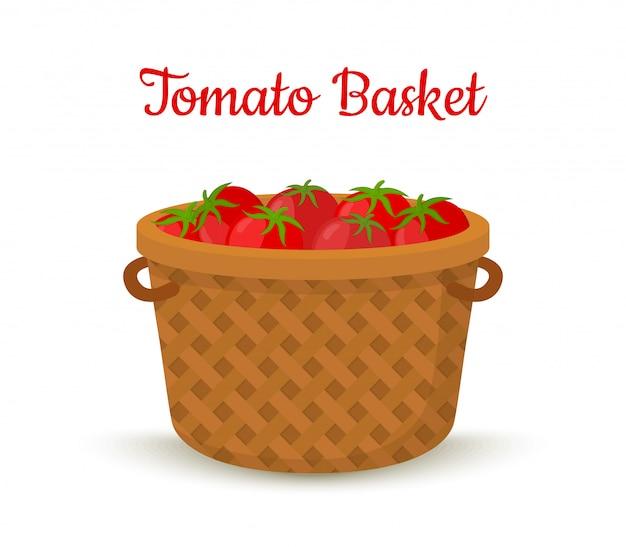 Brązowy kosz z pomidorami
