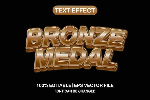 Brązowy medal 3d edytowalny efekt tekstowydrukuj