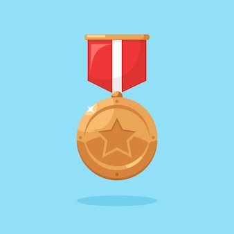 Brązowy medal z czerwoną wstążką, gwiazda za iii miejsce.