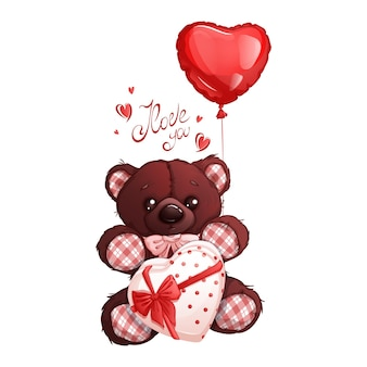 Brązowy miś z pudełkiem czekoladek ozdobionym kokardką i balonem w kształcie serca. napis napis.
