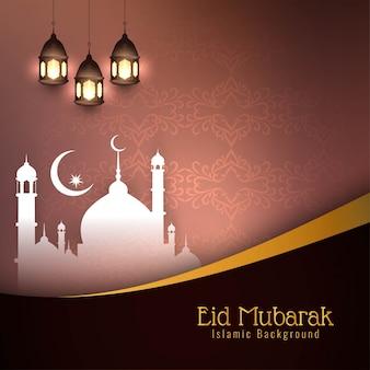 Brązowy piękny eid mubarak islamski
