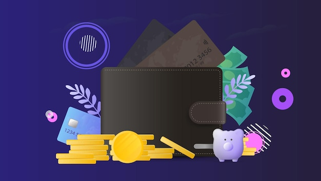 Brązowy portfel z kartami kredytowymi i złotymi monetami. portfel męski z kartami bankowymi.