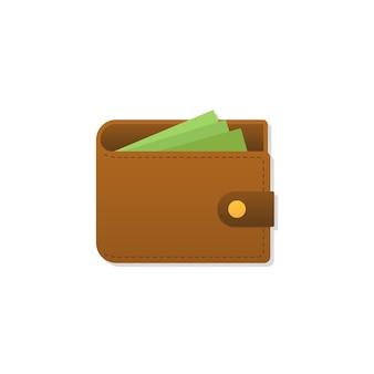 Brązowy portfel z pieniędzmi na białym tle. ilustracja wektorowa eps10
