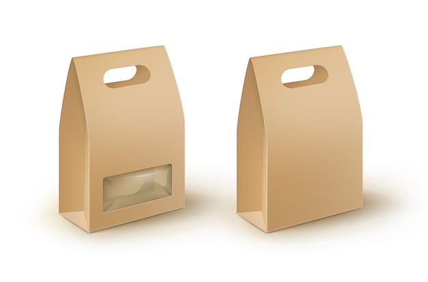 Brązowy pusty prostokątny karton na wynos opakowanie pudełko na lunch na kanapkę