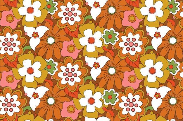 Brązowy ręcznie rysowane groovy kwiatowy wzór