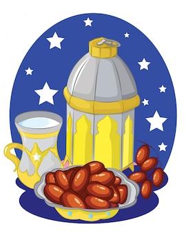 Brązowy talerz z datami, kubek wody i arabski latarnia na tle nocy.