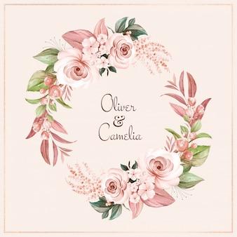Brązowy wieniec z brązowych róż akwarela i dzikich kwiatów z różnymi liśćmi.