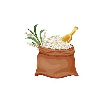 Brązowy worek jutowy wypełniony białym zbożem i ryżem. otwórz worek pełen białego ziarna żywności z żółtym wiosłem shamoji - na białym tle kreskówka płaski
