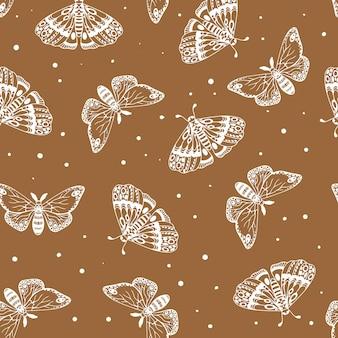 Brązowy wzór pięknych motyli. owady wzór. ilustracja wektorowa