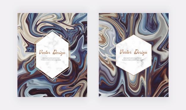 Brązowy z niebieskim płynnym malowaniem tuszem abstrakcyjny wzór z geometrycznymi marmurowymi ramkami.
