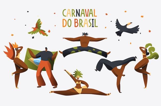 Brazylia karnawał kostium tancerz sztandar postaci.