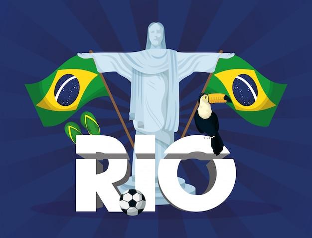 Brazylia karnawałowa ilustracja z corcovade christ
