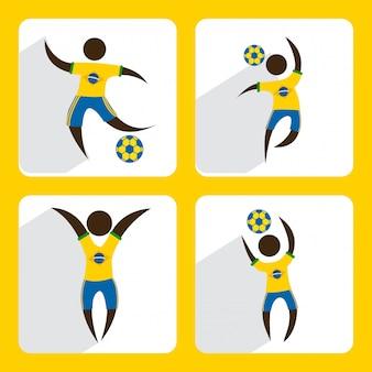Brazylia projekt na żółtym tle ilustracji wektorowych
