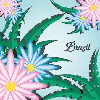 Brazylia projekt z kwiatami i liśćmi