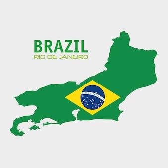 Brazylia rio de janeiro mapa i flaga
