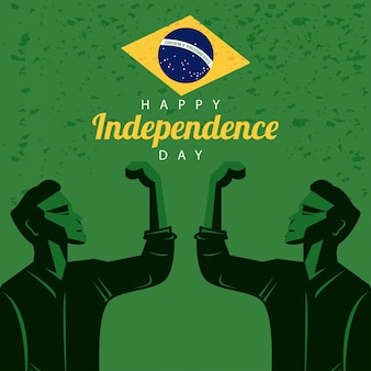 Brazylia szczęśliwy dzień niepodległości z flagą i silnymi mężczyznami świętującymi