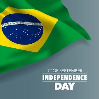Brazylia szczęśliwy dzień niepodległości z życzeniami, baner, ilustracji wektorowych. brazylijski dzień narodowy 7 września tło z elementami flagi, format kwadratowy