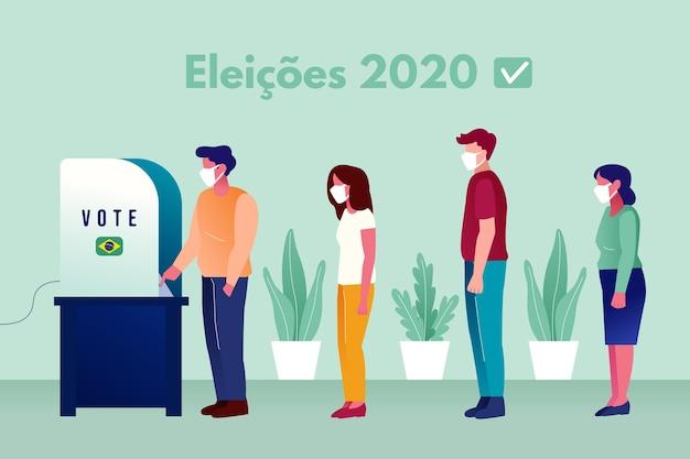 Brazylijczycy w kolejce do głosowania z maską