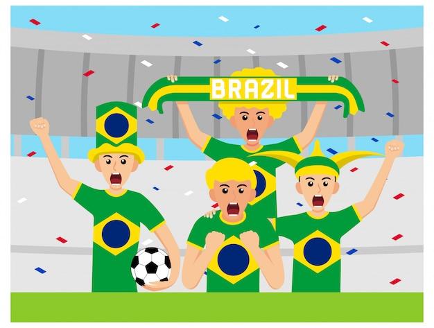 Brazylijscy kibice w płaskiej konstrukcji