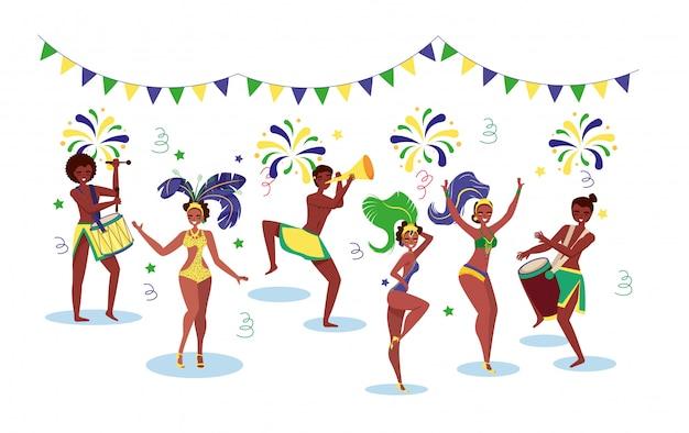 Brazylijscy tancerze. wektor