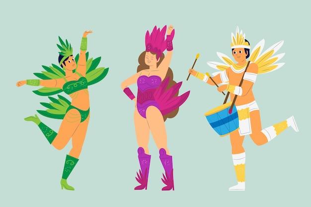 Brazylijska kolekcja karnawałowa ludzi tańczących z piórami i perkusją