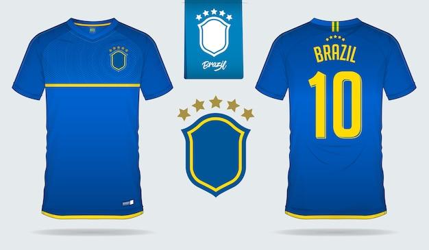 Brazylijska koszulka piłkarska lub szablon piłkarski.