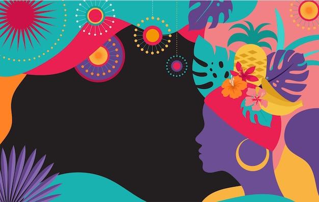 Brazylijski karnawał, festiwal muzyczny, tło maskarady