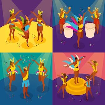 Brazylijski karnawał koncepcja zestaw z tańcem
