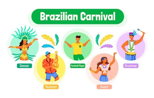 Brazylijski karnawał płaski kolor plansza informacyjna szablon. tancerz. plakat, broszura, koncepcja strony ppt, postacie z kreskówek. muzyk. ulotka reklamowa, ulotka, pomysł na baner informacyjny