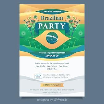 Brazylijski karnawał szablon strony ulotki