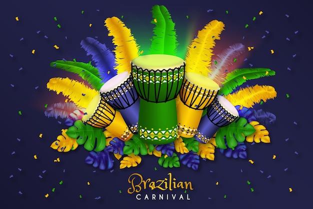 Brazylijski karnawał tło realistyczne wzornictwo