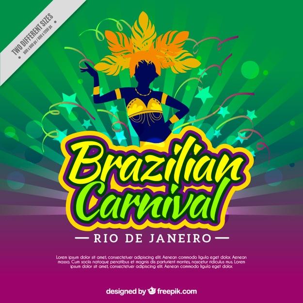 Brazylijski karnawał tło z sylwetka tancerza