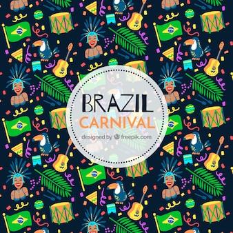Brazylijski karnawał tło z wzorem