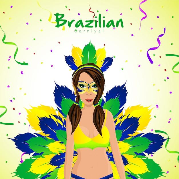 Brazylijski karnawał z postaciami dziewczyny