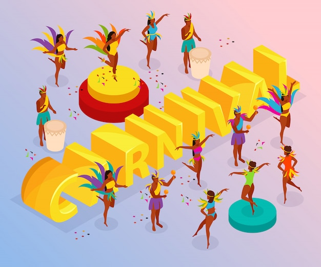 Brazylijski karnawał z tańczącymi ludźmi